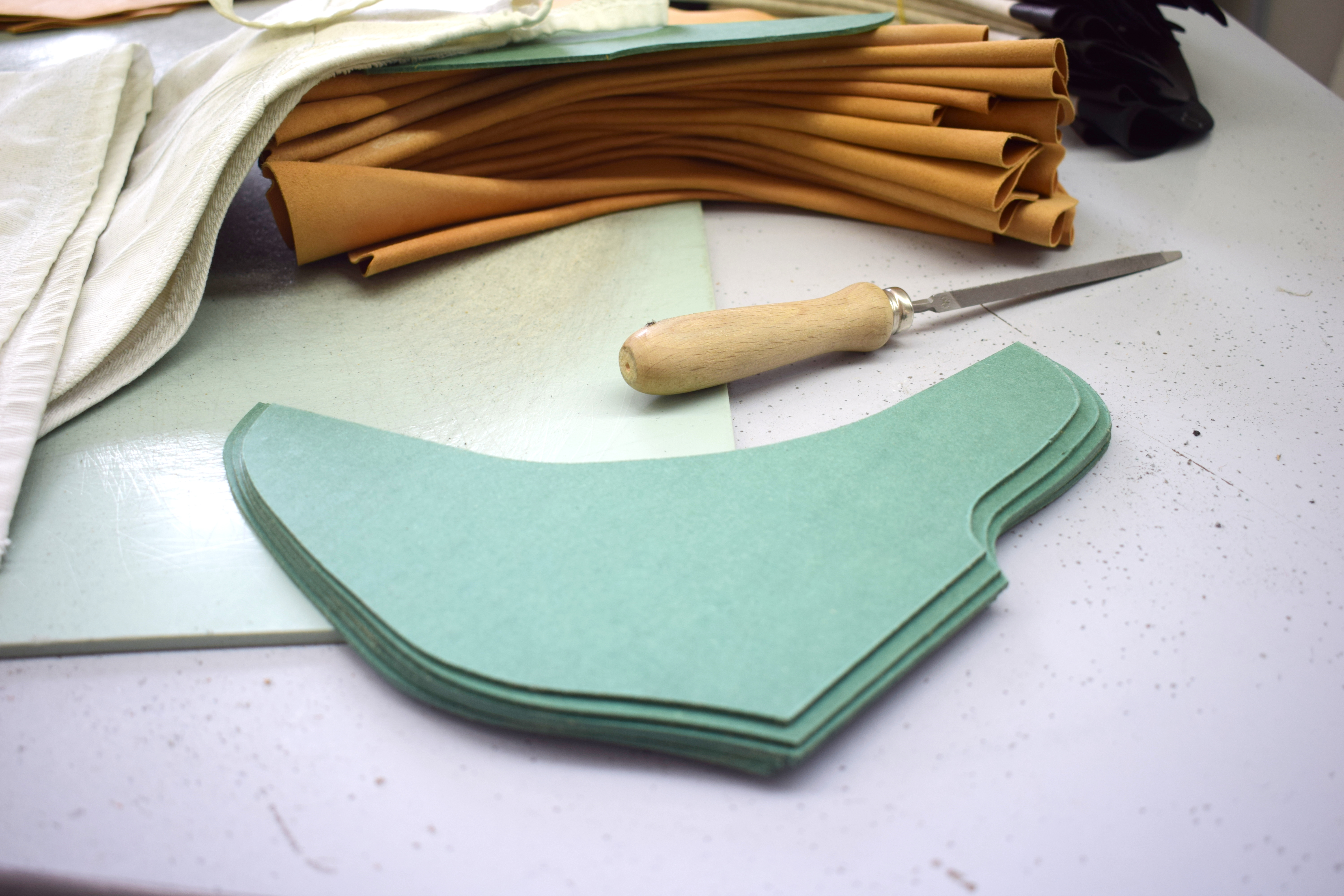 hand-cut leather in italy -  craft tools